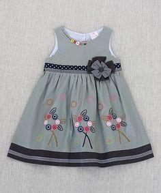 Look at this #zulilyfind! Gray Flower-Accent A-Line Dress - Toddler & Girls #zulilyfinds