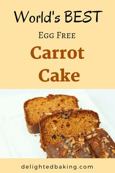 Eggless Whole Wheat Carrot Cake : Easy & Simple whole wheat cake! This carrot cake is soft, super moist and full of flavor! Eggless Desserts, Eggless Recipes, Eggless Baking, Healthy Cake Recipes, Dump Cake Recipes, Dessert Recipes, Easy Recipes, Veg Recipes, Vegan Desserts