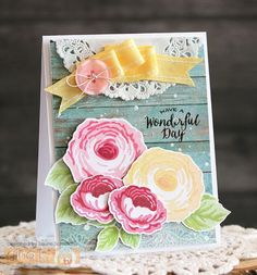 Wonderful Day by Laurie Schmidlin - created using the Old Country Roses stamp set (illustrated by Claire Brennan) from Gina K Designs Stamp Tv, Birthday Cards For Women, Card Maker, Card Sketches, Just Giving, Flower Cards, Cute Cards, Cardmaking, Christmas Cards