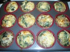 Cheesy Egg Muffins: This full recipe is 2 lean servings and 2 green servings.  You can enjoy 6 muffins in 1 day for 1 full lean and 1 green serving. Just remember to incorporate 2 more green servings and 2 Healthy Fat servings to complete your L for the day.