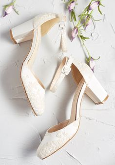 Ethereal Stride Embroidered Heel - Every step taken in these ivory heels from Chelsea Crew is one worth remembering. A ModCloth exclusive, this satin pair flaunts sleek ankle straps, embroidered flowers, and all of the charm needed to elevate your amble. Bridal Heels, Wedding Heels, Wedding Garters, Bride Shoes, Prom Shoes, Outdoor Wedding Shoes, Chic Vintage Brides, Vintage Bridal Shoes, Vintage Heels