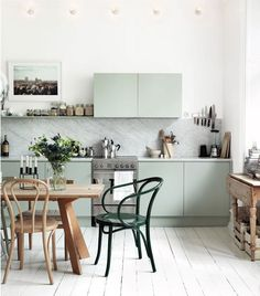 Adore these colours for kitchens, and these kitchens' style in general | Paint Color Portfolio: Pale Green Kitchens