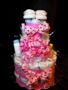Baby Shower Diaper Cake for baby girl