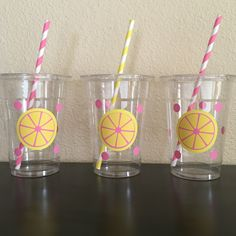 Pink lemonade party cups by DivineGlitters on Etsy https://www.etsy.com/listing/236049580/pink-lemonade-party-cups