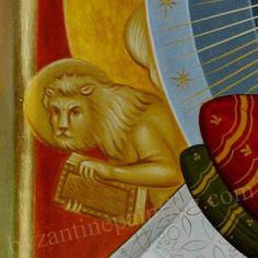 Icoana Iisus Hristos pe Tronul Slavei   Byzantine Icon Painting