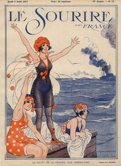 Peltier 1917 Le Salut de la France aux Americains, Bathing Beauty