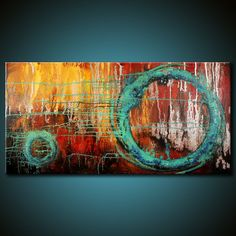 Modern Abstract Painting 48x24 Canvas Colorful von FariasFineArt