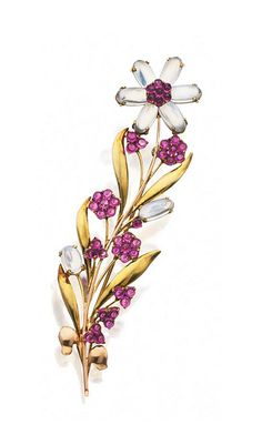 TWO-COLOR GOLD, MOONSTONE AND PINK SAPPHIRE FLOWER BROOCH, TIFFANY & CO., CIRCA 1945.  The floral spray set with 8 oval-shaped moonstone cabochons and numerous small round pink sapphire cabochons, mounted in 14 karat yellow and pink gold, signed Tiffany & Co.
