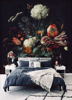 Oil painting vintage floral - Printed Removable Self Adhesive paper / wallpaper / wall mural / peel & stick / Home Interior, Interior And Exterior, Interior Decorating, Interior Design, Deco Design, Wall Design, House Design, Bedroom Decor, Wall Decor