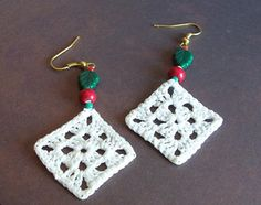 Christmas Crochet Granny Square Earrings by RamblingIvyCaravan, $16.00
