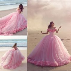 Princess Fairy Tales Style 2016 New Cinderella Quinceanera Dresses Pink Tulle Sweet Sixteen Long Cheap Prom Party Gowns Formal Pageant Wear