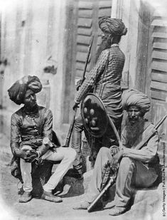 India In The 19th Century.     Afghan Sikh Officers of Hodson's Horse, a cavalry regiment of the British Indian Army, during the Indian Rebellion, 1858. (Photo by Felice Beato/Getty Images)