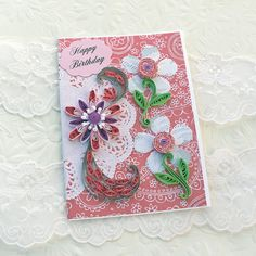 Card Paper Quilling Greeting Paper Quilled by EnchantedQuilling