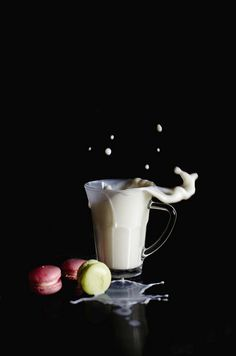 splash with milk and macarons!  High speed photography. TT