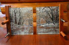 Winter\'s Calm fused glass winterscape