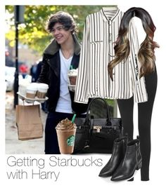 """""""Getting Starbucks with Harry"""" by style-with-one-direction ❤ liked on Polyvore featuring Topshop, OneDirection, harrystyles, 1d, lucluc and harry styles one direction 1d"""