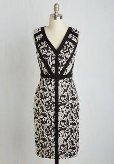 Corner Lounge Cocktails Dress. Celebrate the end of the week by slipping into this black and white midi and clinking glasses with the gals at your fave spot! #black #modcloth