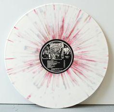 """Carcass – Reek of Putrefaction (2013 FDR Reissue) """"splattered cavities"""" white & red/pink splatter vinyl"""