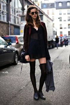 Seriously such a cool outfit: long chiffon blouse+high waisted shorts+thigh highs+sweater+and the shades! Ughhh so cool