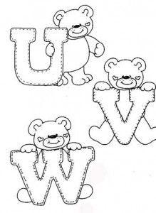 desenhos-alfabeto-ursinhos-enfeite-sala-de-aula-infantil-(6) - alphabet and teddy coloring