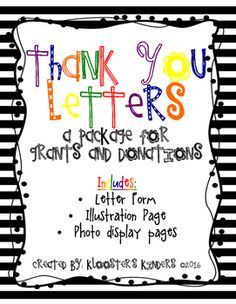 Donors choose thank you printables notes template teacher and school this package is perfect for classrooms that just received a donation or grant request from an spiritdancerdesigns Image collections