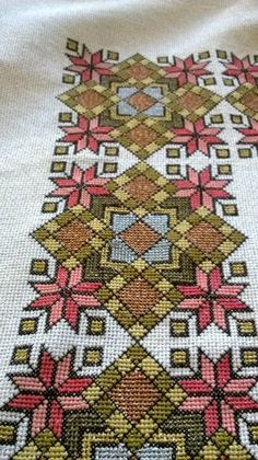 Embroidery detail from table cloth. Olga Malanchuk made this in 1957 from a Nasha Chata magazine pattern. Cross Stitch Borders, Cross Stitch Designs, Cross Stitching, Cross Stitch Patterns, Blackwork Embroidery, Cross Stitch Embroidery, Embroidery Patterns, Hand Embroidery, Cross Stitch Silhouette