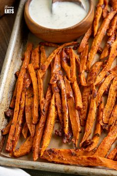 Parmesan Sweet Potato Fries with Ranch Dressing - delicious parmesan coated sweet potato fries served with a light ranch dressing made with Greek Yoghurt.Slimming World and Weight Watchers friendly