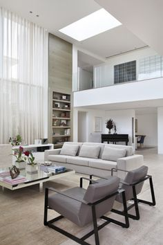 Contemporary, clean living room.