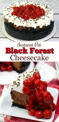I have just the recipe for you. I am going to show you how to make this Instant Pot Black Forest cheesecake! Super easy and oh so tasty! Instant Pot Cheesecake Recipe, Best Cheesecake, Chocolate Cheesecake, Cheesecake Recipes, Chocolate Recipes, Fruit Cheesecake, Chocolate Sweets, Best Dessert Recipes, Easy Desserts