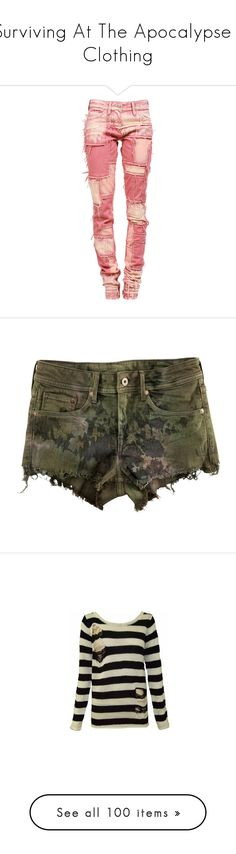 """""""Surviving At The Apocalypse / Clothing"""" by bubble-star ❤ liked on Polyvore featuring pants, jeans, bottoms, pantalones, isabel marant, shorts, short, khaki green, h&m shorts and green shorts"""