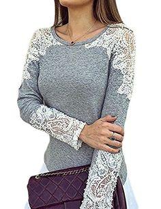 Alvaq Women's Lace Cutout Patchwork Grey Long Sleeve Top Casual T Shirt