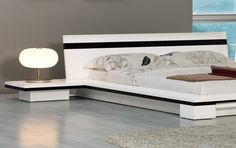 Modern White Platform Bed | Home / Sonata Contemporary White Platform Bed With Nightstands