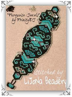 BP-GEO-018a Turquoise Jewels Shaped Peyote Stitch by TrinityDJ