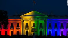 The White House is lit up in rainbow colors in commemoration of the Supreme Court's ruling to legalize same-sex marriage on Friday, June 26, 2015.