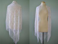 Vintage Wedding White Lace Fringe Triangle by SwampLilyEmporium, $22.00