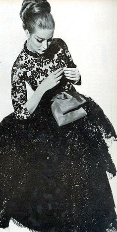 Tania Mallet wearing Venet's flamenco lace culottes sashed in brown taffeta, photo by Penn, Vogue US, Sept. 1964