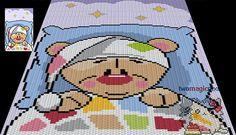 Sleepy Bear crochet blanket pattern knitting by TwoMagicPixels Graph Crochet, Pixel Crochet, C2c Crochet, Manta Crochet, Crochet Blanket Patterns, Knitting Patterns, Cross Stitching, Cross Stitch Embroidery, Embroidery Patterns