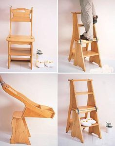 2 in 1 Multifunction Wooden Chair(Ladder)  SO COOL. it's a chair AND a ladder.    -  To connect with us, and our community of people from Australia and around the world, learning how to live large in small places, visit us at www.Facebook.com/TinyHousesAustralia