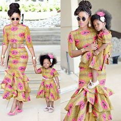 Mother and Daughter Ankara Styles - Fashion Ruk African Print Fashion, African Fashion Dresses, African Attire, African Wear, African Outfits, Africa Fashion, African Prints, African Dresses For Kids, African Children