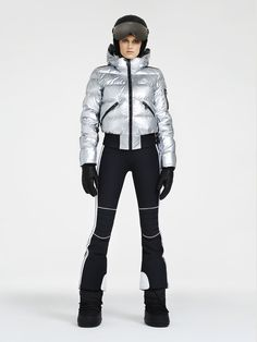 """Aura ski jacket is a bomber jacket made in a metallic coloured fabric. Tape with lurex featuring """"GOLDBERGH"""" runs down the sides of the jacket. Ski Outfits, Fashion Outfits, Ski Fashion, Fashion Women, Snowboarding Style, Athletic Wear, Skiing, Sportswear, Active Wear"""