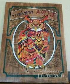 Unicorn SPiT Gel Stain Painting  Native American Owl