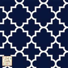 """Quatrefoil Oxford Blue Cotton Jersey Blend Knit Fabric - Exclusive from the Girl Charlee Kingfisher collection!  On trend quatrefoil design in our Oxford Blue and  white on our signature cotton jersey blend knit.  Fabric is very soft and has a nice stretch and drape.  Largest quatrefoil measures just over 4"""".  A versatile fabric that is great for many applications.  Made in Los Angeles!  ::  $6.60"""