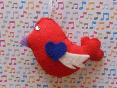 Lullaby Bird Ornament by Pepperland on Etsy, $6.00
