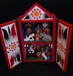 Nativity Retablo Holy Family in Wood Box Latin American Peru Fair Trade #74008