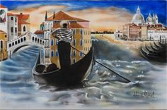 Venice Passing By  This painting renders the beauty of the unmistakable Venice landscape complete with the buildings, gondolier, and bridges during a quite time of the day.