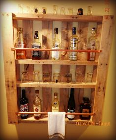 Pallet Bar. I like this idea. Should be fairly inexpensive too. Paint it red and…