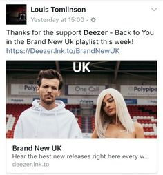 Various louis posts via @LouisT91Updates...........  | Louis posted this post on Facebook thanking @Deezer. July 27, 2017