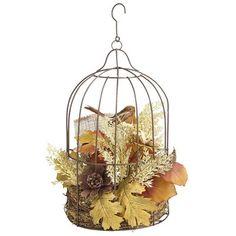 Birdcage Arrangement. Love this idea for fall décor from Pier 1.
