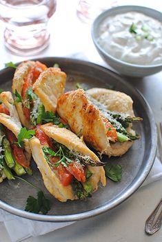 Chicken, Asparagus & Tomato Boats w/ Greek Yogurt Dip