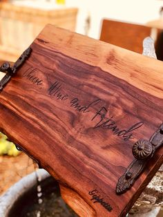 Excited to share this item from my shop: Extra Large Charcuterie Board Engraved Walnut with Handles Plateau Charcuterie, Charcuterie And Cheese Board, Cheese Boards, Wooden Cheese Board, Wooden Diy, Handmade Wooden, Butcher Block Conditioner, Antique House, Wood Tray